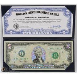 USA $2 BILL HOLOGRAM NOTE