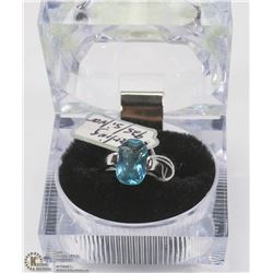 NEW CUBIC BLUE STERLING .925 SILVER RING SIZE 1