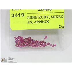 152) GENUINE RUBY, MIXED SHAPES AND SIZES, APPROX