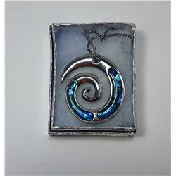 6)  SILVER TONE & BLUE ABALONE