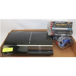 PLAYSTATION 3 WITH 7 GAMES, CORDS, AND CONTROLLER.