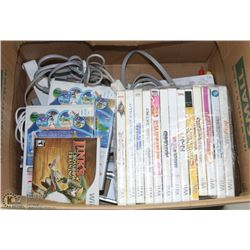 BOX FULL OF WII GAMES, CONSOLE AND ACCESSORIES.