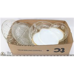 BOX OF GLASS SERVING DISHES