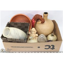 BOX WITH MARBLE VASES, CLAY VASES & MORE