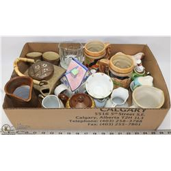 BOX OF ASSORTED TEAPOTS, STEINS AND VINTAGE