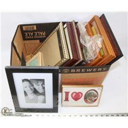 BOX OF FRAMES - TEAK, BRASS, ETC