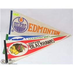 LOT OF 7 NHL HOCKEY PENNANTS INCL EDMONTON,CHICAGO