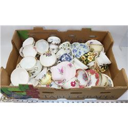 FLAT OF ASSORTED FINE BONE CHINA CUPS & SAUCERS
