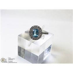 18) 10KT WHITE GOLD BLUE TOPAZ & DIAMOND RING