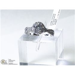 5) 10KT WHITE GOLD DIAMOND & SIDE DIAMOND RING