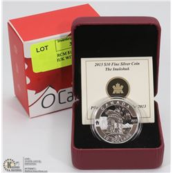 7) 2013 RCM $10 FINE SILVER COIN INUKSHUK WITH