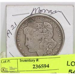 1921 US MORGAN SILVER DOLLAR COIN