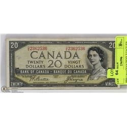 1954 CANADIAN DEVIL'S FACE $20 BILL