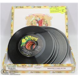 CIGAR BOX FILLED WITH 14 ROCK 45 RPM RECORDS INCL