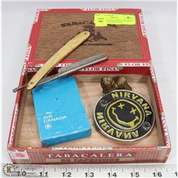 CIGAR BOX FILLED WITH ANTIQUE STRAIGHT BLADE RAZOR