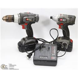 PORTER CABLE 18V DRILL & IMPACT SET W/ 2 BATTERIES