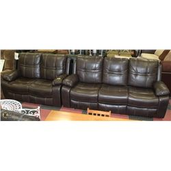 "NEW BROWN LEATHERETTE RECLINING 84"" SOFA WITH 60"""