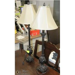 SET OF 2 MATCHING BLACK&MARBLE LAMP WITH CREAM