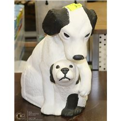 BLACK & WHITE CERAMIC MOTHER DOG WITH
