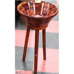 LARGE DARK WOOD SALAD BOWL WITH STAND