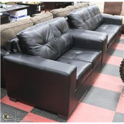"NEW BLACK LEATHERETTE 84"" SOFA WITH 64"" LOVE SEAT"