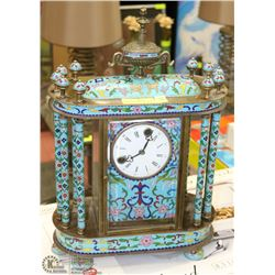 ORNATE DECORATIVE HAND PAINTED MANTLE CLOCK