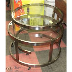 2PC GLASS AND METAL END TABLE SET