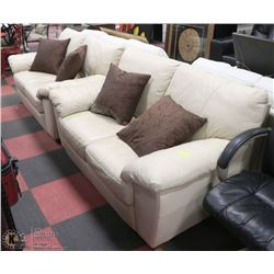 "PAIR OF LEATHERETTE LOVE SEATS 60"" WITH DECORATIVE"