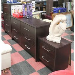 THREE PIECE DARD WOOD STAINED BEDROOM DRESSER
