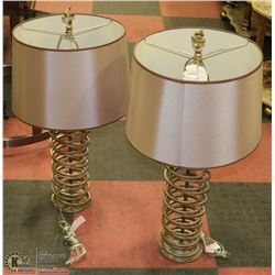 "PAIR OF COIL STYLED TABLE LAMPS 30"" TALL"
