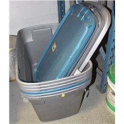 SIX 30 GALLON RUBBERMAID TOTES