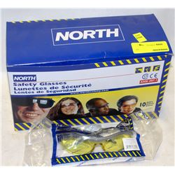 BOX OF 10 NEW NORTH SAFETY GLASSES