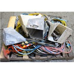 PALLET OF VARIOUS EXTENSION CORDS, DRYWALL FEEDER