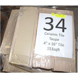 "PALLET #34) LOT OF CERAMIC TILE TAUPE  4""X16"""