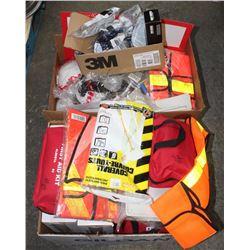 LARGE LOT OF SAFETY VESTS, MEDICAL EQUIPMENT,