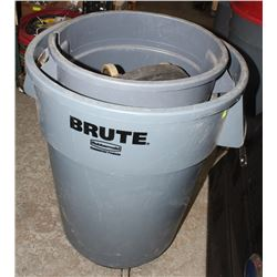 3 ASSORTED BRUTE WASTE BINS WITH 2 DOLLIES ON