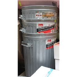 3 ALUMINUM GARBAGE CANS
