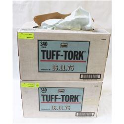 2 BOXES OF TOUGH TORQUE HD NON WOVEN WIPING RAGS
