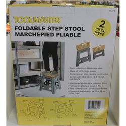 NEW SET OF 2 TOOLMASTER FOLDABLE STEP STOOLS.
