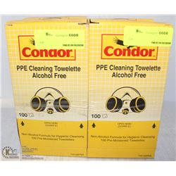 FOUR BOXES OF CONDOR PPE CLEANING TOWELETTES