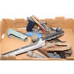 LOT OF WOOD WORKING TOOLS INCL 3 PLANERS, RASPS &