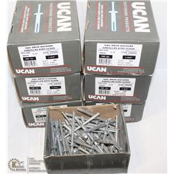 SEVEN SMALL BOXES OF 1/4' X 3' NAIL DRIVE