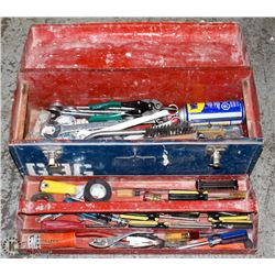 BLUE METAL TOOLBOX WITH CONTENTS