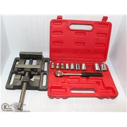 "SOCKET SET AND 1"" TALL VISE"
