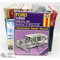BOX OF OLD CAR REPAIR MANUALS