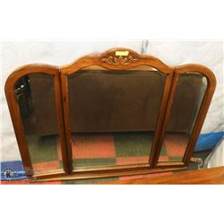 LARGE ANTIQUE OAK CHEST OF DRAWERS MIRROR.
