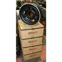 4 NEW IN THE BOX 16 X 7 ENVY WHEELS. FLAT BLACK