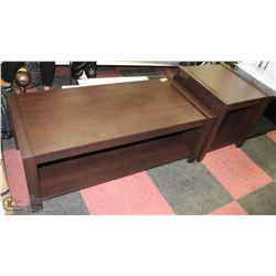BROWN COFFEE & END TABLE SET. (46X21X17, 22X22X22)
