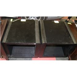PAIR OF GLASS AND WOOD CUBE END TABLES. 23X23X21