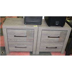 PAIR OF GREY WOOD GRAIN NIGHT STANDS.  26X18X26